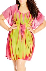 Plus Size Women's City Chic 'Rainbow Kaftan' Print Drawstring Waist Tunic