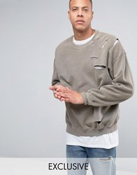 Reclaimed Vintage Oversized Sweatshirt With Overdye And Distressing Grey