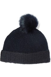 Iris And Ink Shearling Trimmed Merino Wool Beanie Midnight Blue
