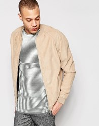 Pull And Bear Faux Suede Bomber In Tan Tan