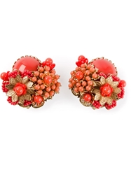 Rewind Vintage Affairs Beaded Floral Earrings Red