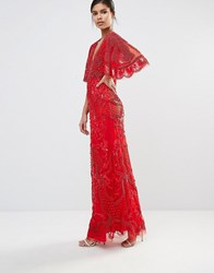 A Star Is Born Embellished Kimono Sleeve Maxi Dress Red