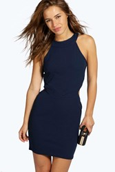 Boohoo Leanna Cut Out High Neck Bodycon Dress Navy