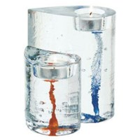 Kosta Boda 2 Sweet Hearts Glass Art Candleholders Red And Blue