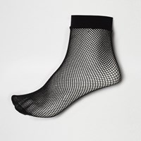 River Island Womens Black Fishnet Ankle Socks