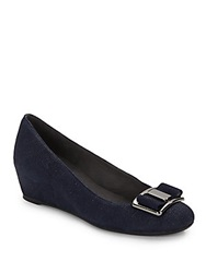 Proper Goosebump Leather Wedges Navy