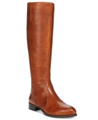 Nine West Nicolah Wide Tall Block Heel Boots Women's Shoes Cognac Leather