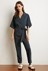 Forever 21 Collared Pinstripe Jumpsuit Navy White
