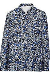 Mother Of Pearl Ray Printed Cotton And Silk Blend Top Blue