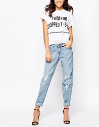 New Look Ripped Boyfriend Jeans Blue