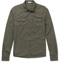 Tomas Maier Riviera Slim Fit Cotton Poplin Shirt Green