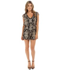 Brigitte Bailey Quinn Sequin Romper Black Gold Women's Jumpsuit And Rompers One Piece