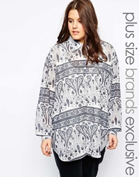 Alice And You Blue Oversize Shirt In Tile Print White