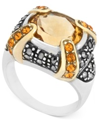 Genevieve And Grace Sterling Silver Ring Citrine 11 X 10Mm Yellow Crystal 1Mm And Marcasite Gallery Ring