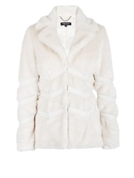 Morgan Furry Look Piped Detail Jacket White