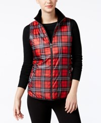 G.H. Bass And Co. Plaid Vest Red Black
