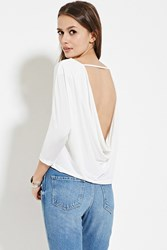 Forever 21 Contemporary Cowl Back Top Ivory