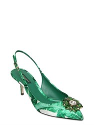 Dolce And Gabbana 60Mm Leaf Printed Satin Slingback Pumps