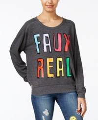 Rampage Juniors' Faux Real Oversized Graphic Sweatshirt Charcoal Grey Heather