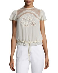 Red Valentino Short Sleeve Bird Cutout Blouse