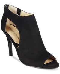 Adrienne Vittadini Genia Peep Toe Sandals Women's Shoes Black Kidsuede