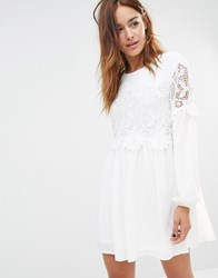 Missguided Lace Detail Swing Dress Ivory Cream