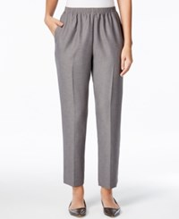 Alfred Dunner Textured Pull On Straight Leg Pants Gray