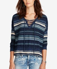 Denim And Supply Ralph Lauren Lace Up Tunic Sweater Blue Multi