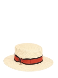 Alex Boater Straw Hat Natural Red