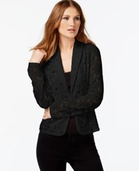 Inc International Concepts Petite Long Sleeve Lace Blazer Only At Macy's Deep Black