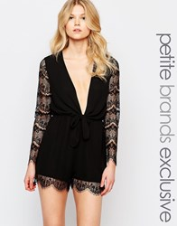 John Zack Petite Long Sleeve All Over Lace Playsuit With Bardot Neckline Black