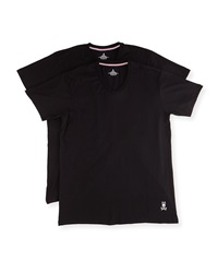 Psycho Bunny Tagless Motion V Neck Jersey Tee Set Black