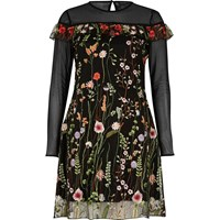 River Island Womens Black Embroidered Mesh Dress