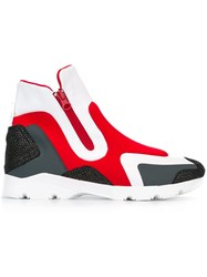 Maison Martin Margiela Mm6 Colour Block Hi Top Sneakers Red