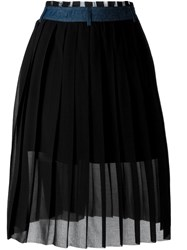 Diesel Denim Belt Pleated Skirt Black
