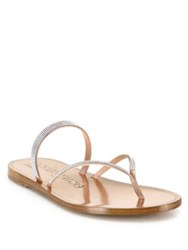 Pedro Garcia Ilsa Swarovski Crystal Silk Satin Thong Sandals Quartz