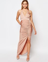 Ariana Grande For Lipsy Slinky Halter Neck Ruched Dress Tan Blush Pink