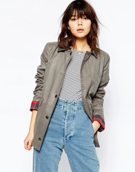 Asos Jacket In Wax And Heritage Detail Light Grey
