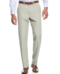 Haggar Straight Fit Flat Front Performance Microfiber Dress Pants Stone