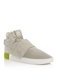 Adidas Tubular Invader Strap High Top Sneakers Sesame Gray