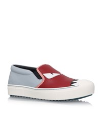 Fendi Bugs Leather Skate Shoes Female Red