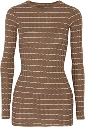 Enza Costa Ribbed Knit Cotton And Cashmere Blend Top Brown