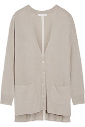 Duffy Two Tone Cashmere Cardigan Light Gray