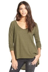 Sun And Shadow V Neck Thermal Swing Top Green