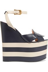 Gucci Two Tone Leather Wedge Sandals Navy