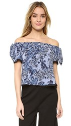 Timo Weiland Kylie Off Shoulder Top Blue Cherry Blossom