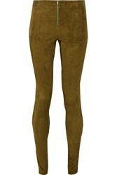 Alice Olivia Suede Leggings Green