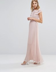 Warehouse Pleated Cape Detail Maxi Dress Pale Pink
