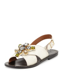 Jeweled Calf Hair Flat Sandal White Marni