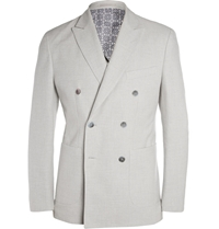 Hardy Amies Grey Unstructured Cotton Double Breasted Blazer Gray